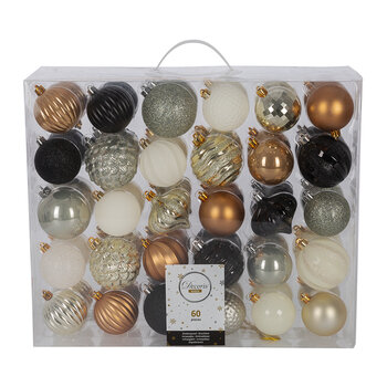 Set of 60 Baubles - Champagne/Camel/Black