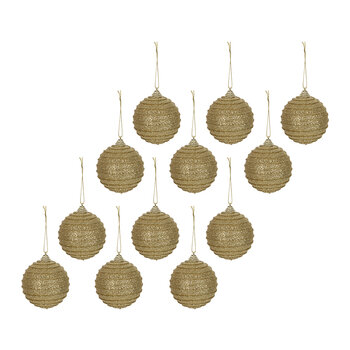 Rib Glitter Bauble - Set of 12 - Gold