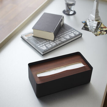 Rin Tissue Box with Lid - Brown