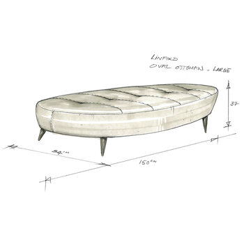 Linford Oval Ottoman - Large
