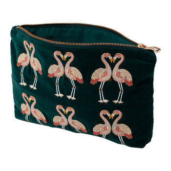 Flamingo Velvet Travel Pouch