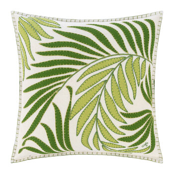 Tropical Palm Cushion - White - 46x46cm