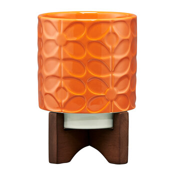 Sixties Stem Ceramic Pot - Orange