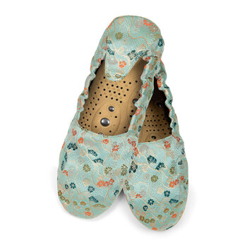 Massaging Slippers - Jade Brocade