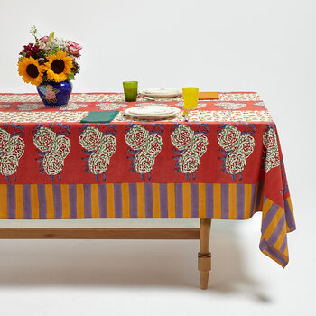Leopard Stripes Tablecloth - Rust - 180x180cm
