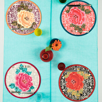 Sunrise Round Placemat - Coral