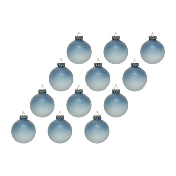 Omber Ice Finish Bauble - Set of 12 - Blue