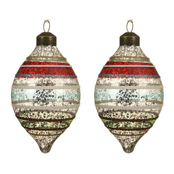 Retro Glitter Stripe Olive Bauble - Set of 2