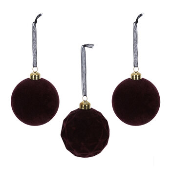 Flocked Baubles - Set of 3 - Burgundy