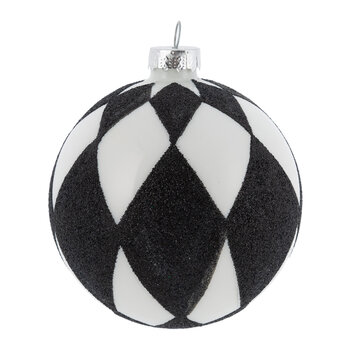 Black and White Check Bauble - Set of 6