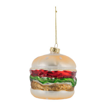 Burger in Bun Glass Tree Decoration