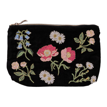 British Blooms Velvet Travel Pouch - Black