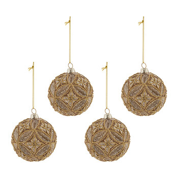 Decorative Geo Glass Bauble - Set of 4 - Champagne