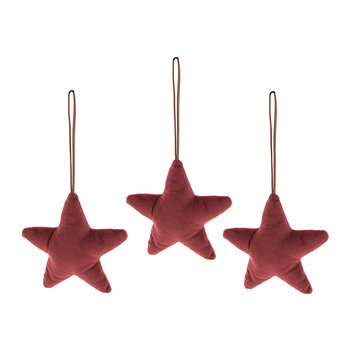 Fabric Star Tree Decoration - Set of 3 - Burgundy
