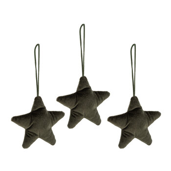 Fabric Star Tree Decoration - Set of 3 - Green