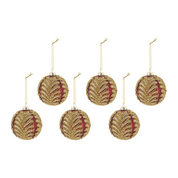 Glitter Leaf Glass Bauble - Set of 6 - Red