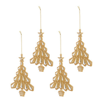 Glitter Trees Tree Decoration - Set of 4 - Gold
