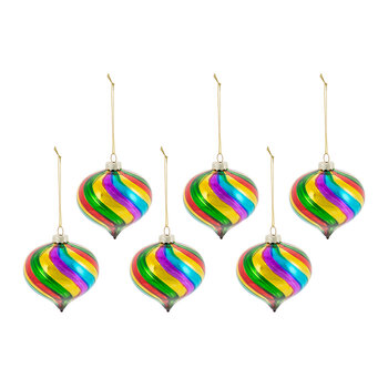 Multicolored Glass Onion Bauble - Set of 6