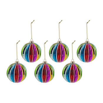 Multicolored Segment Stripe Glass Bauble - Set of 6