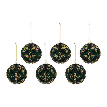 Pillow Effect Glass Bauble - Set of 6 - Emerald Green