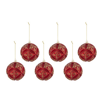 Pillow Effect Glass Bauble - Set of 6 - Red