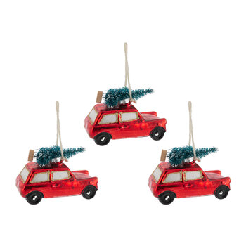 Red Car with Tree on Roof Tree Decoration - Set of 3