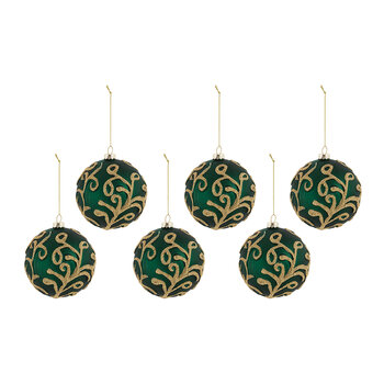 Vine Pattern Glass Bauble - Set of 6 - Emerald Green