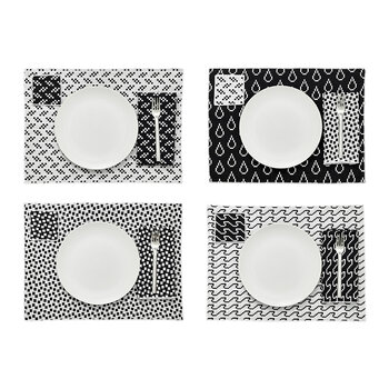 Assorted Printed Placemats - Set of 4 - Black & White