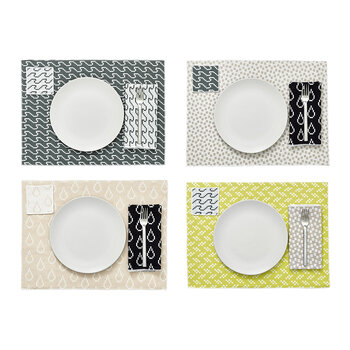Assorted Printed Placemats - Set of 4 - Grey & Yellow