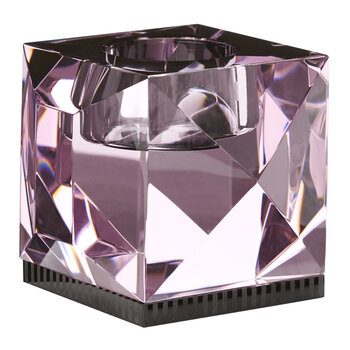Ophelia Crystal Tealight Holder - Rose/Black