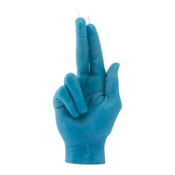 'Gun Fingers' Candle - Blue