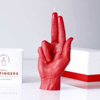 'Gun Fingers' Candle - Red