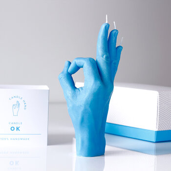 'OK' Candle - Blue