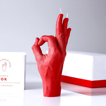 'OK' Candle - Red