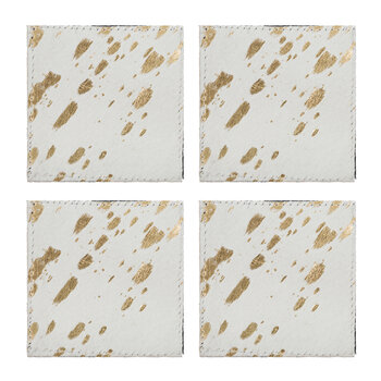 Metallic Acid Cowhide Coasters - Set of 4 - Gold