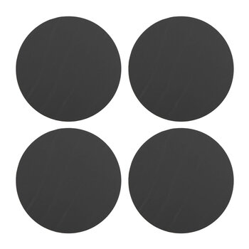 Round Leather Coasters - Set of 4 - Graphite