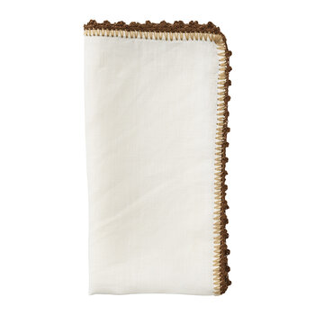 Knotted Edge Napkin - White/Brown