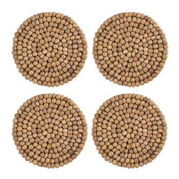 Wooden Beaded Coaster - Set of 4