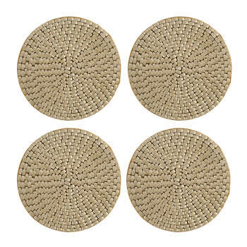 Woven Beaded Coaster - Set of 4 - Gold