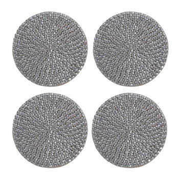 Woven Beaded Coaster - Set of 4 - Silver