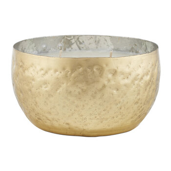 Iced Metal Candle - Large - Winter White