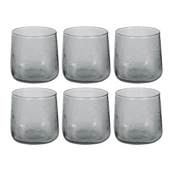 Hammered Glass Tumblers - Set of 6 - Gray
