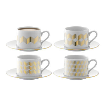 Chevron Teacup & Saucer - Set of 4