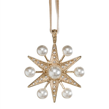 Space Pearl Star Tree Decoration - Gold