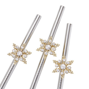 Snowflake Metal Cocktails Straws - Set of 4