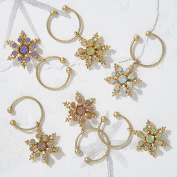 Snowflake Wine Charms - Pastel - Set of 6