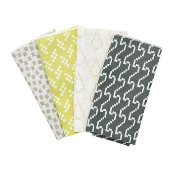 Assorted Printed Napkins - Set of 4 - Gray & Yellow