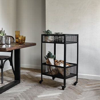Iron Trolley with Baskets - Black