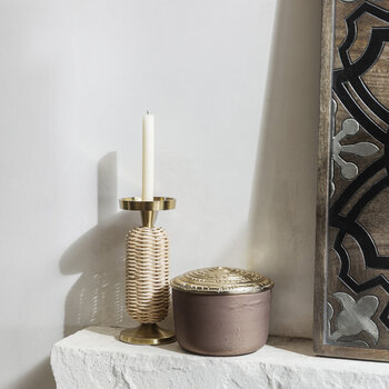 Wicker Weave Pillar Candle Holder - Small