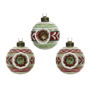 Retro Leaf Border Bauble - Set of 3